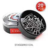 20 PCS Vapethink Staggered Coil Bobina de Vaper Wire, Resistencias Vape AWG(24GAx2) +(0.1x0.5mm...