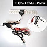 CoCar Auto Kfz F Stecker DVBT TV + ISO DIN Radio FM/AM Antenne Verstärker Verbinder Klebeantenne Universal Antennenkabel für Analog/Digital DVB-T ATSC ISDB TV
