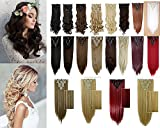 2426-inches6166cm-Long-Curly-Wavy-Straight-8-Piece-Full-Head-18Clips-Womens-Ladies-Girls-Clip-in-Hair-Extensions