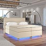 Moebel89 Boxspringbett Amadeo in cremefarben mit LED, Farbe wie abgebildet 160cm x 200cm/Bett, Doppelbett, Hotelbett, Gästebett als Boxspringbett mit Federkern mit Schaumpolsterung