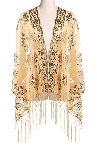 lagtücher für Abendkleid 1920s Retro Schal Hochzeit Party Braut Schal Gatsby Kostüm Accessoires (Gold) (Gold Pailletten Kleid Kostüm Ideen)