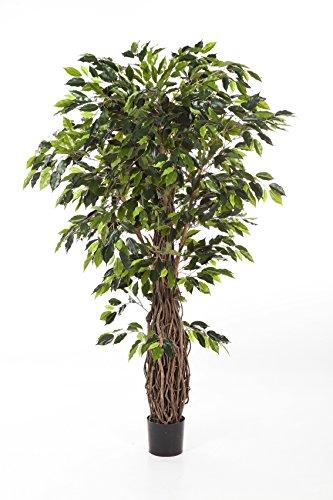 artplants Kunst-Ficus PHIPSO, 3580 grüne Blätter, üppiger Naturholzstamm, Deluxe, 240 cm – Deko Ficus/exotischer Kunstbaum