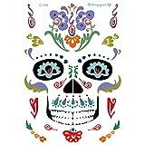axusndas - Adhesivos de Cara Temporal para Halloween, diseño de Calavera de azúcar, diseño Floral, para Disfraz de araña, Sangre, Cicatrices, murciélagos, 11#