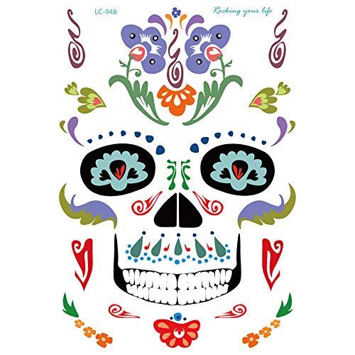 Zhongyu temporary face tattoo kit, masquerade giorno dei morti skeleton skull full face makeup tatuaggi sticker halloween decor puntelli per le ragazze ladies
