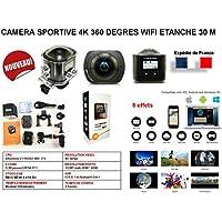Mini caméra sport action 360 / caméra embarquée noire et argent 4K Full 360 degrés wifi avec caisson étanche 30 mètres