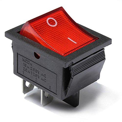 MYAMIA 5Pcs Rotes Licht 4 Pin Dpst on-Off-Rocker-Boots Schalter 13A/250V 20A/125V