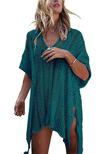 Strandkleid Damen Kurze Kleid Badeanzug Bikini Spitze Crochet Cover Up (Pfau Blau, M)