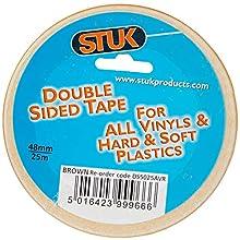 STUK DS5025AVR Double-Sided Tape for Vinyl's and Plastics, 48mm25m, Heavy Duty Jumbo Roll, Brown