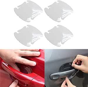 Zooenie 4 Pcs Universal Transparent Invisible Auto Tür Griff Kratzer Schutz Filme Clear Seite Aufkleber Kratzer Auto Tür Protector Filme Auto