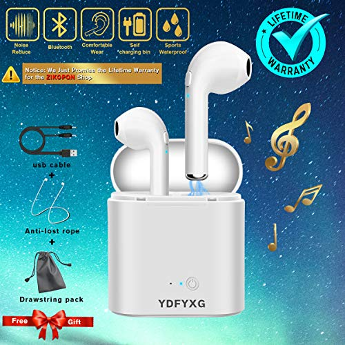 Inalámbricos Auriculares Bluetooth,Wireless Deportivos Running In-ear Cascos Earbuds Auriculares con Micrófonos Manos libres Cancelacion Ruido Lightning Caja de Carga Headset,Blanco Mini Estéreo Headphone Earpods Compatible para Apple IOS Android Sony Samsung iphone X 6 7 8S plus Huawei Móviles Smartphones (negro)