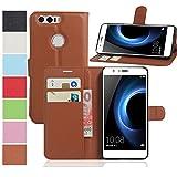 MaxKu Huawei Honor 8 Pro Hülle, Premium PU Leder Mappen Kasten für Huawei Honor 8 Pro Smartphone, Braun