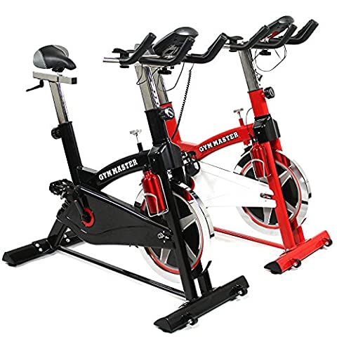GYM MASTER PRO Heavy Duty Exercise Spin Bike With 20kg Flywheel, Heart Rate Sensors, On Board Computer & Drinks Bottle - Choice Of