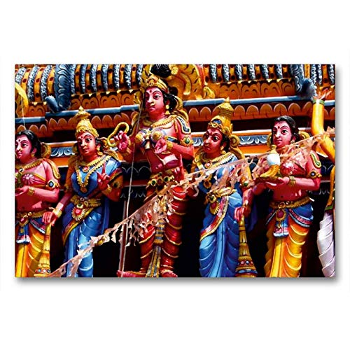 Premium Textil-Leinwand 90 x 60 cm Quer-Format Hindutempel im Süden SriLankas | Wandbild, HD-Bild auf Keilrahmen, Fertigbild auf hochwertigem Vlies, Leinwanddruck von Michaela Schiffer