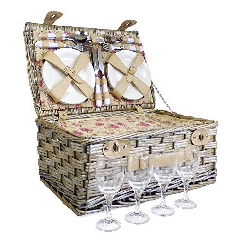 4Personen Picknick Korb Rattan in unserem Garten Rose Design–Geschenk Ideen für Weihnachten, Geburtstag, Hochzeit, Jahrestag und Corporate Vier Rattan Körbe