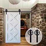 CCJH 5FT-153cm Quincaillerie Kit de Rail Grande Roue Roulettes pour Porte Coulissante Hardware pour une Porte Suspendue en Bois Sliding Barn Door Hardware Big Wheel Flat Shaped