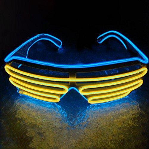 Gladle Gladle EL Draht Rave Sonnenbrille LED leuchten Party Brille Gelber Spiegel des blauen Rahmens