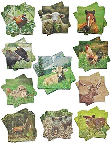 Unbekannt 2 Set´s: Servietten - mit verschiedenen Tier Motiven - Serviette Tischserviette Papier Party - Tiere Tierservietten / Waldtiere (Die Verschiedenen Trachten Der Verschiedenen Länder)