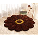 Raedial Arts Round Colorful Sunflower Area Rug Mats For Bedroom Living Room Round Mats Computer Chair Mat