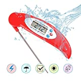 Food Thermometer Instant Read, Fleischthermometer Digital, tragbare elektronische wasserdichte Küche Thermometer faltbare Sonde mit LED-Bildschirm für BBQ Kochen Küche Flüssigkeit Türkei Grill (rot)