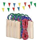 Partituki Pack de 10 Cuerdas para Saltar. Combas con Mango de Madera y una Guirnalda de 10 m. Ideal para Juegos al Aire Libre y Detalles de Cumpleaños Infantiles.