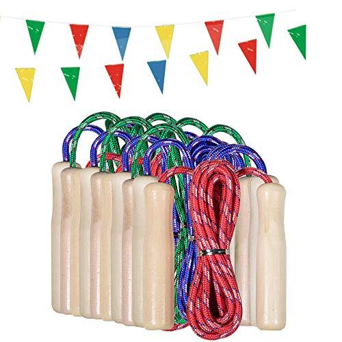 partituki pack di 10 corde per saltare. corde per saltare con manico in legno e una ghirlanda di 10 metri. ideale per giochi all'aperto e regali di compleanno per bambini.