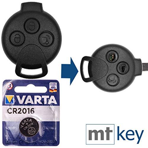 SMART Repair - Kit di riparazione chiavi auto con alloggiamento a 3 tasti e batteria per Smart 451 Fortwo 2007-2015