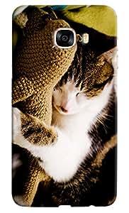 Omnam Cat Sleeping Printed Designer Back Case For Samsung Galaxy C7