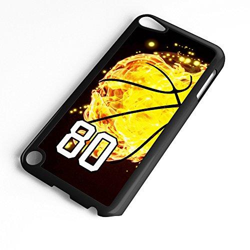 TYD Designs Schutzhülle für iPod Touch 6. Generation / 5. Generation, Basketball #8000, aus Kunststoff, Schwarz, Number 80, schwarz (Ipod 5. Generation Case Gelb)