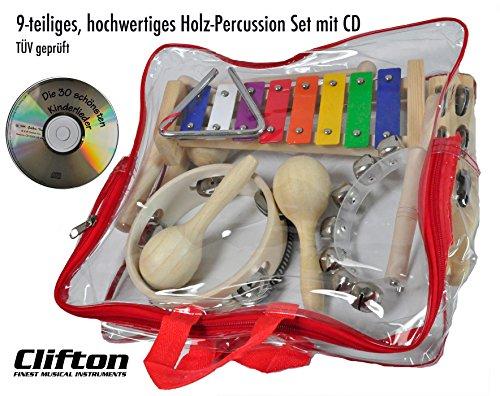 Clifton Kinder Percussion Set aus Holz 9 teilig inkl. Handtrommel, Schellenbaum, Maracas, Metallophon, Triangel, Kastagnetten, Klanghölzer, Ei Shaker, Handrassel, Kinderlieder CD