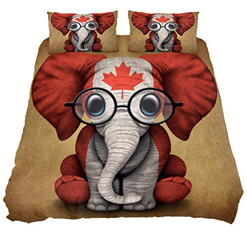 MUOOUM Baby Elefant mit Brille und Kanadische Flagge, 3-teiliges Tagesdecken-Set, Ultra-weich und pflegeleicht, Doppelbettgröße, Mikrofaser, Mehrfarbig, King 102 x 90 \19 x 29 in