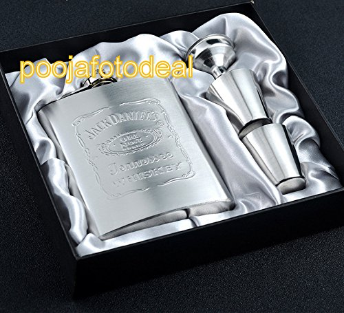 SHOPEE 7oz 215ml Stainless Steel Jack Daniel Wine Holder / Whiskey Holder / Liquor Holder Imported Hip Flask Set With Gift Box Embossing Whiskey Alcohol Flask Portable Pocket Flagon  available at amazon for Rs.599
