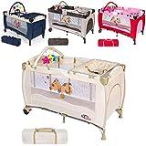TecTake Kinder Reisebett höhenverstellbar mit Babyeinlage -diverse Farben-