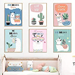 MYSY Alpaca Llama Cactus Cartoon Lovely Wall Art Canvas Painting Nordic Posters and Prints Wall Pictures Baby Kids Room Home Decor-21x30cmx6 pcs sin Marco