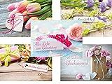 Geburtstagskarten-Set mit 20 klassischen Geburtstags-Postkarten, 5 Motive mit jeweils 4 Geburtstagskarten, Aufschrift Herzlichen Glückwunsch, Alles Liebe zum Geburtstag und Happy Birthday