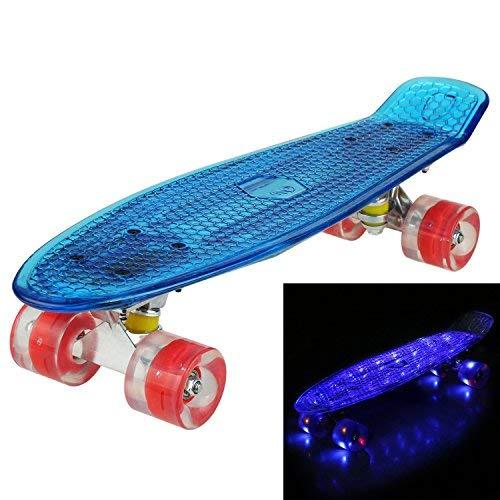"""Hikole Skateboard 22\"""" Polycarbonat Kunstsoff Cruiser Pro Street Skate Board mit LED Blinkende Rollen und Platte"""