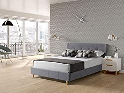 bedzonline UPHOLSTERED LUCIA FABRIC BED IN GREY DOUBLE 4'6 2016 DESIGN