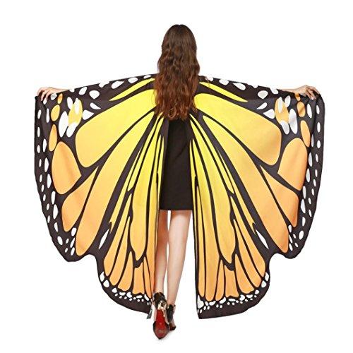 Ouneed Damen 168*135CM Weiche Gewebe Schmetterlings Flügel Schal feenhafte Damen Nymphe Pixie Kostüm Zusatz (168*135CM, Orange)