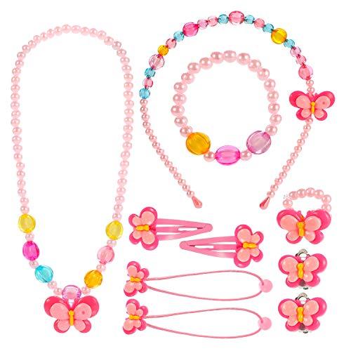 Kleine Mädchen Halskette Armband Ring Clip-on Ohrringe Haar Klammern Einstellen Set, Modeschmuck Party Favors Geschenk zum Anziehen Pretend Play ()