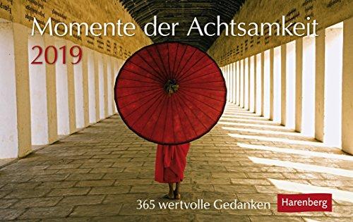 Momente der Achtsamkeit - Premiumalender 2019 - Harenberg-Verlag - Tageskalender mit 365 wertvollen Gedanken - Pro Tag eine Seite - 23 cm x 17 cm - Tischkalender