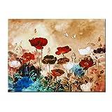 wieco Kunst–Blooming Mohn Modern gespannt und gerahmt Floral Giclée-Leinwanddruck Blumen Artwork Colorful Blumen Bilder Gemälde auf Leinwand Wandbild für Wohnzimmer Schlafzimmer Home Dekorationen