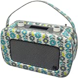 KitSound Jive 1950s Style Retro Portable DAB Radio with Dual Alarm Clock and Carry Handle - Floral