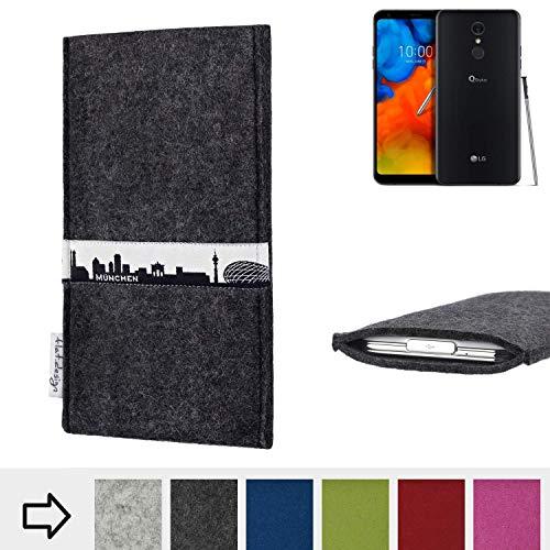 für LG Electronics Q Stylus ? Schutzhülle Handy Tasche SKYLINE mit Webband München - Maßanfertigung der Schutztasche Handy Hülle aus 100% Wollfilz (anthrazit) für LG Electronics Q Stylus ?