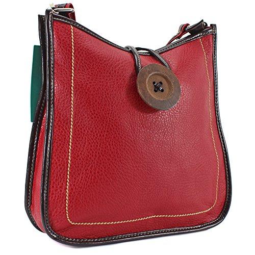 Ydezire® tracolla da donna in finta pelle con bottone, borsa da donna a tracolla (rosso)