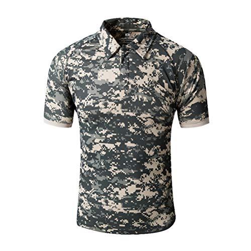 ROBO Polos Hombre Manga Corta Camuflaje Deportivo Slim Fit Transpirable Absorbente Camiseta Deporte de Secado Rápido para Fitness