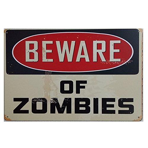 Marquise & lorean  targhe metallo   insegna vintage beware of zombies ✔️ targa   poster decorazioni bar  guarda qui