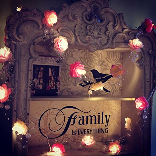 Magideal 2m Pearl String Rose Garland Fairy Lights with 20 LED Bulbs Decor Lights