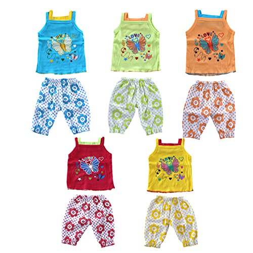 VINAB Cotton Baby Girls Top and Bottom Set (6-12 Months) - Pack of 5