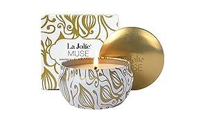 La Jolíe Muse Duftkerze Vanille Kokosnuss 100% Sojawachs Kerze in Dose 185g 45Std Geschenk