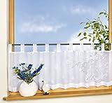Scheibengardine ADRIAN mit Schlaufenaufhängung Farbe weiß 50x150cm (HxB)