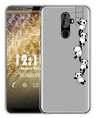 Sunrive Für CUBOT X18 Plus Hülle Silikon, Handyhülle matt Schutzhülle Etui Case Backcover für CUBOT X18 Plus(TPU Panda 1)+Gratis Universal Eingabestift